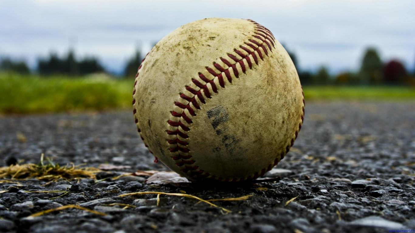 Baseball on Road Wallpaper