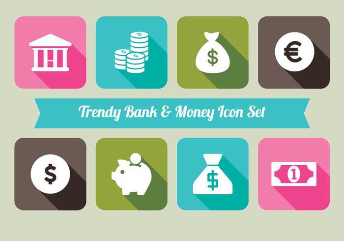 Bank And Money icon Set