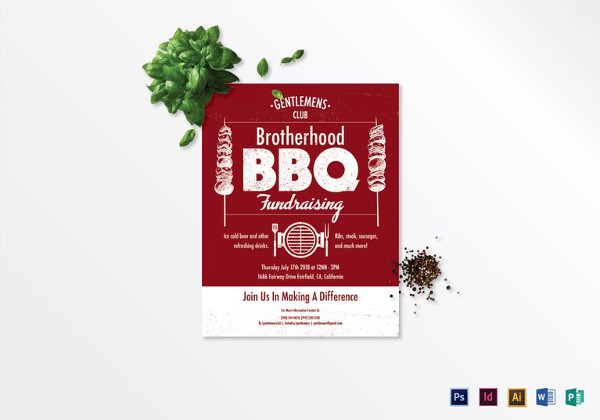 Barbecue fundraising Flyer Template to Edit