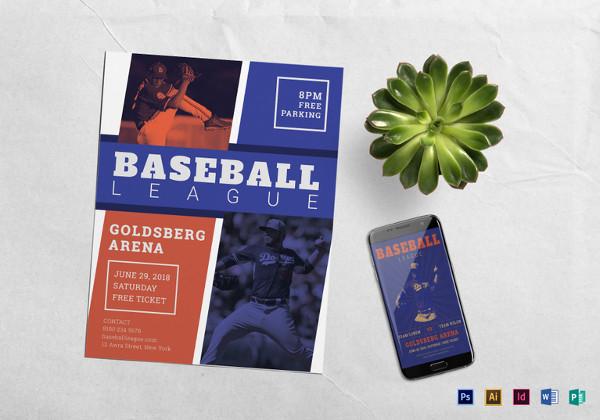 Baseball League Flyer Template in PSD