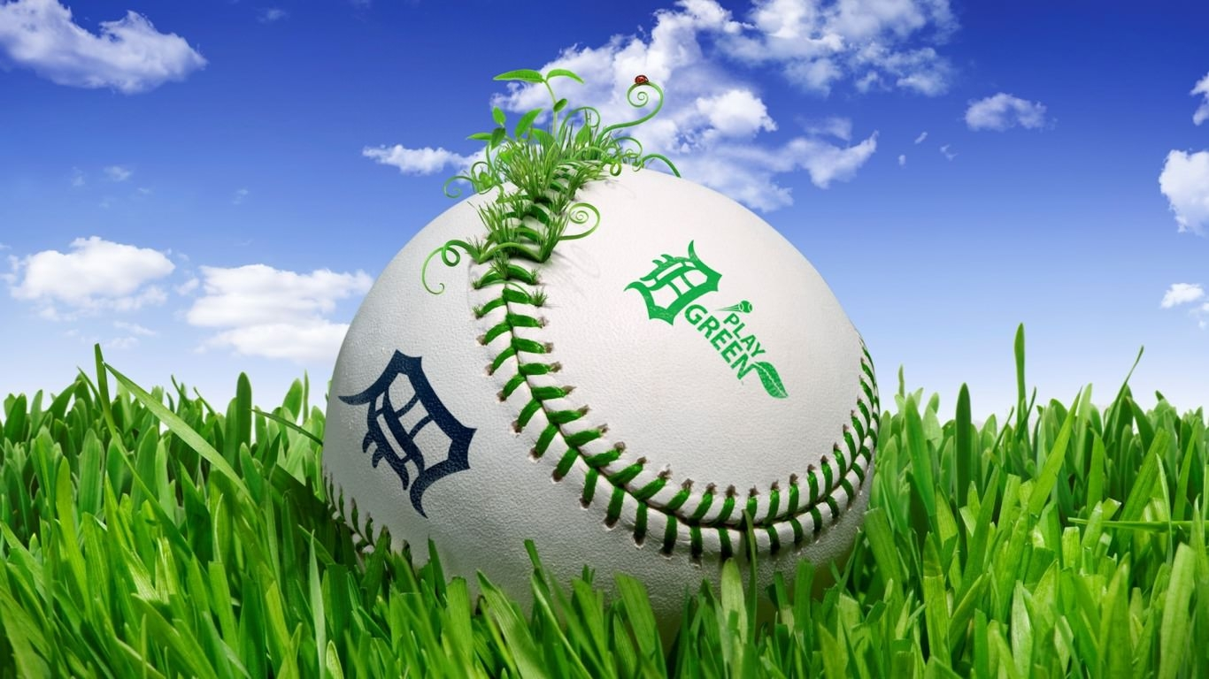 Baseball in Green Field Wallpaper