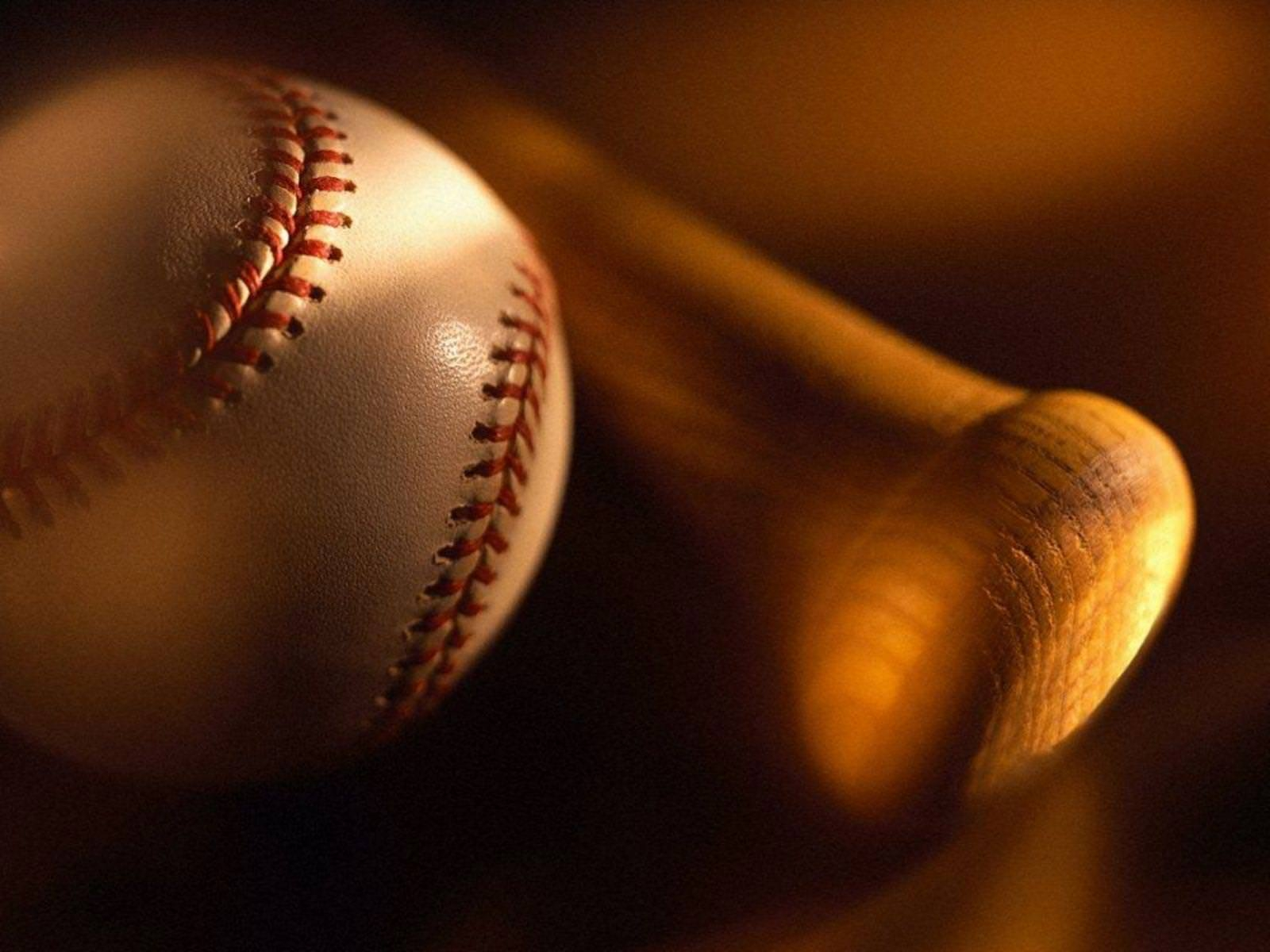 Baseball with Bat Wallpaper