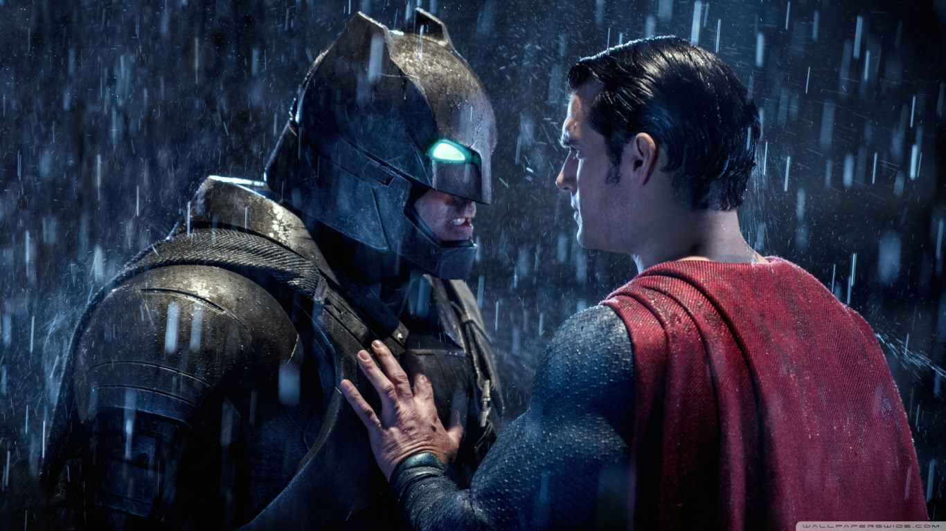 Batman & Superman Face Off Wallpaper