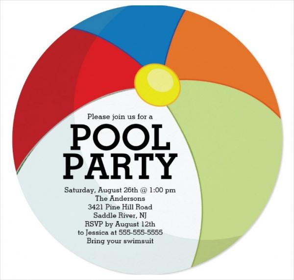Beach Ball Party Invitation Design