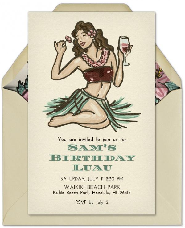 Beach Hula Girl Party Invitation Design