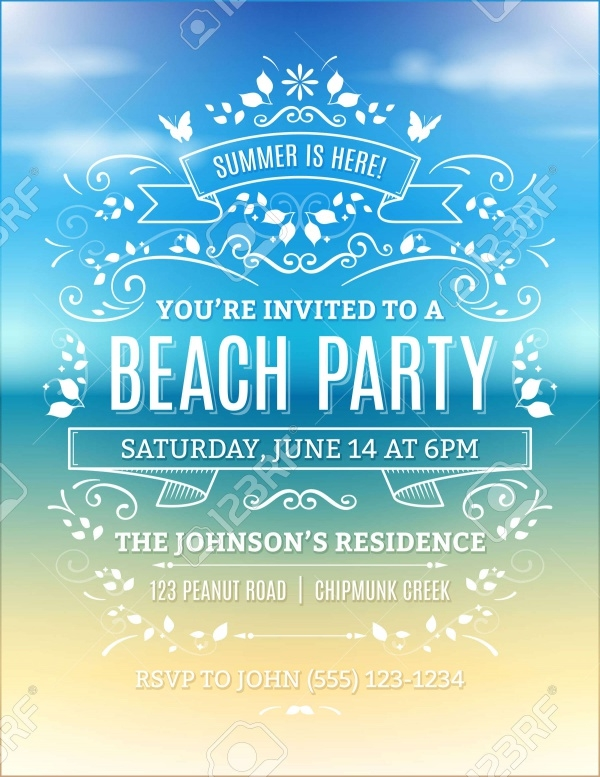 Beach Party Invitation With White Ornaments