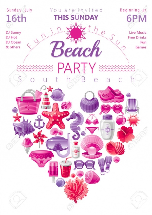 Beach Party Invitation in Red & Pink Colors