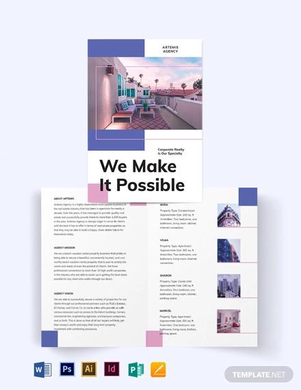 beach vacation rental bi fold brochure template