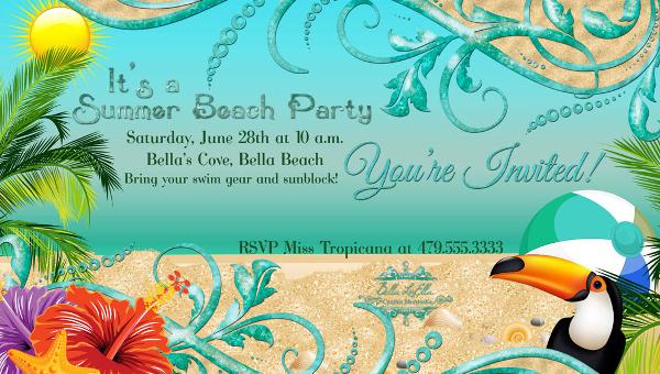 21 beach party invitation designs psd vector eps jpg download img stopboris Choice Image