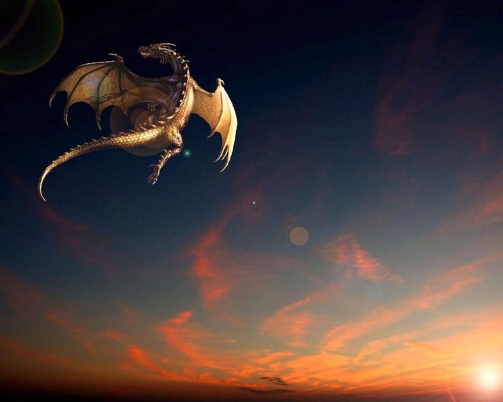 Beautiful Dragon in Sky Wallpaper