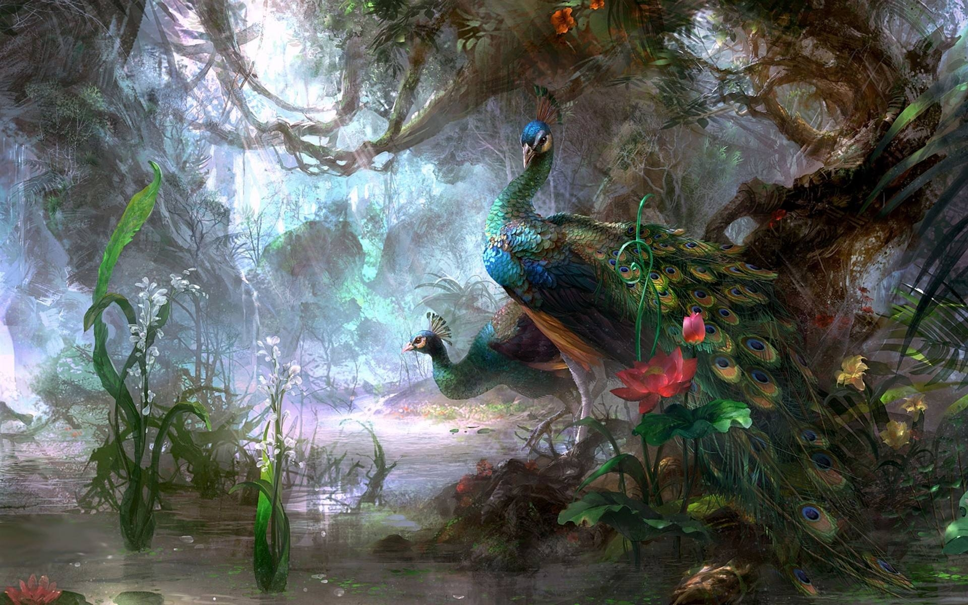 Beautiful Peacock Art Background