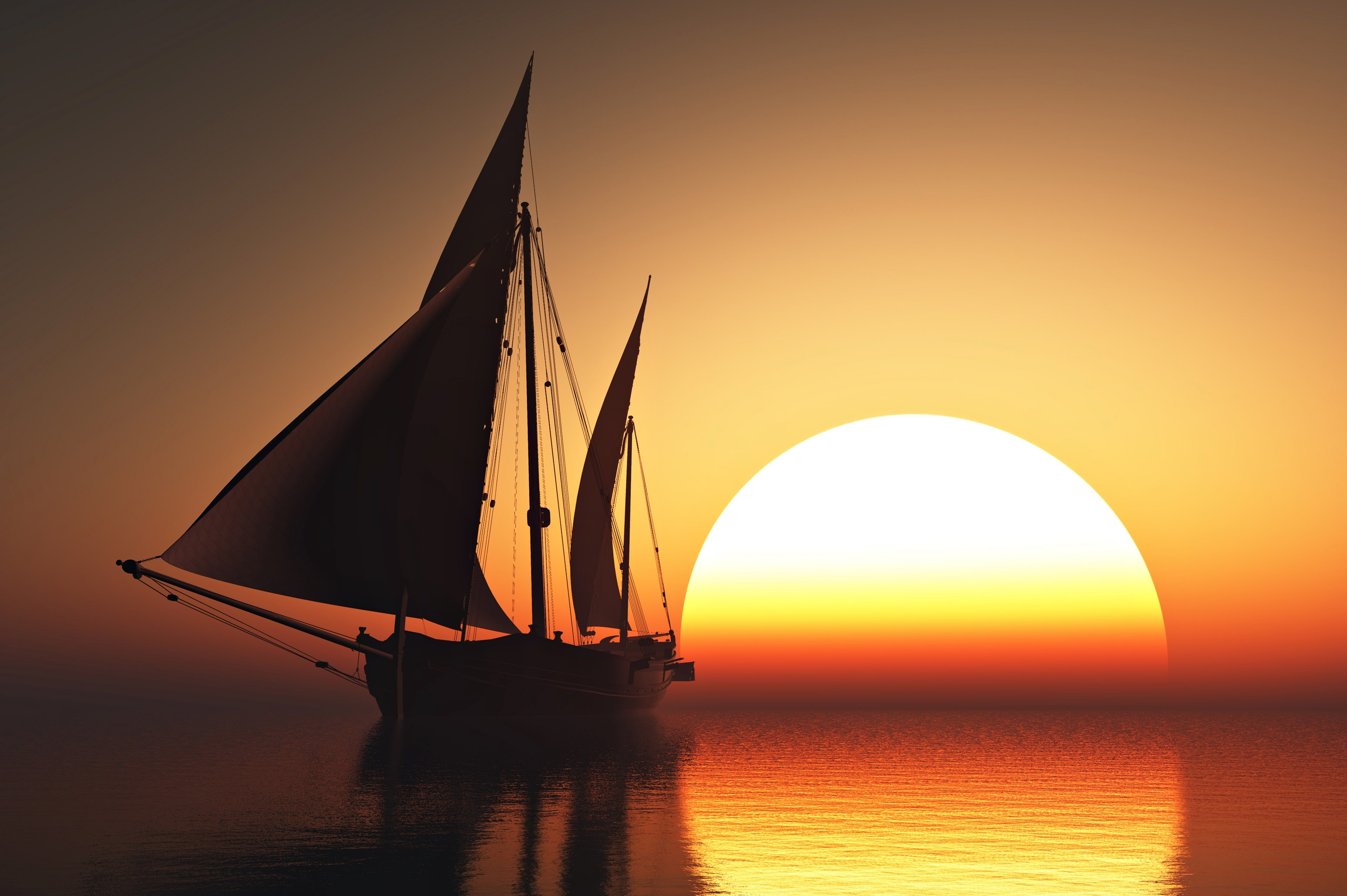 Beautiful Sunset Sailing Wallpaper