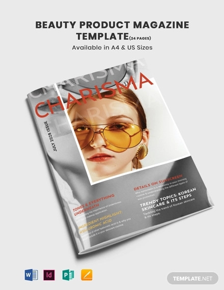 beauty product magazine template