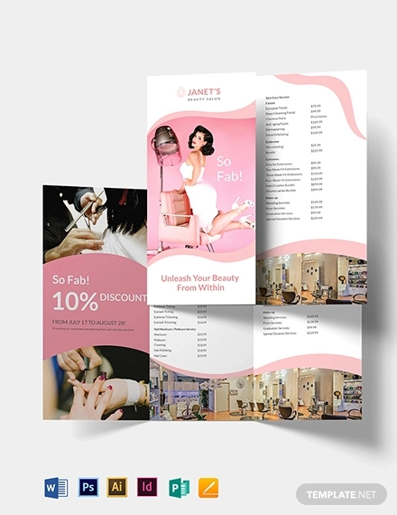 beauty salon trifold brochure