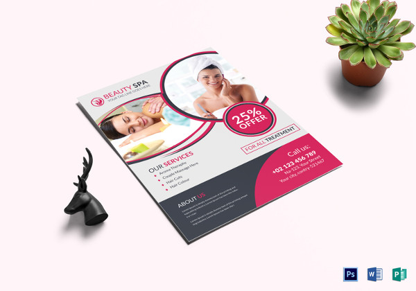 beauty spa treatment flyer template