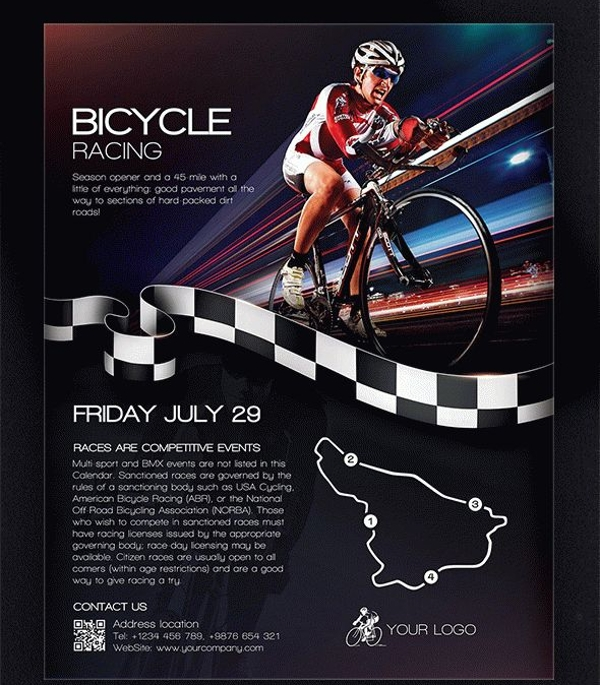 Bicycle Racing Flyer PSD Template