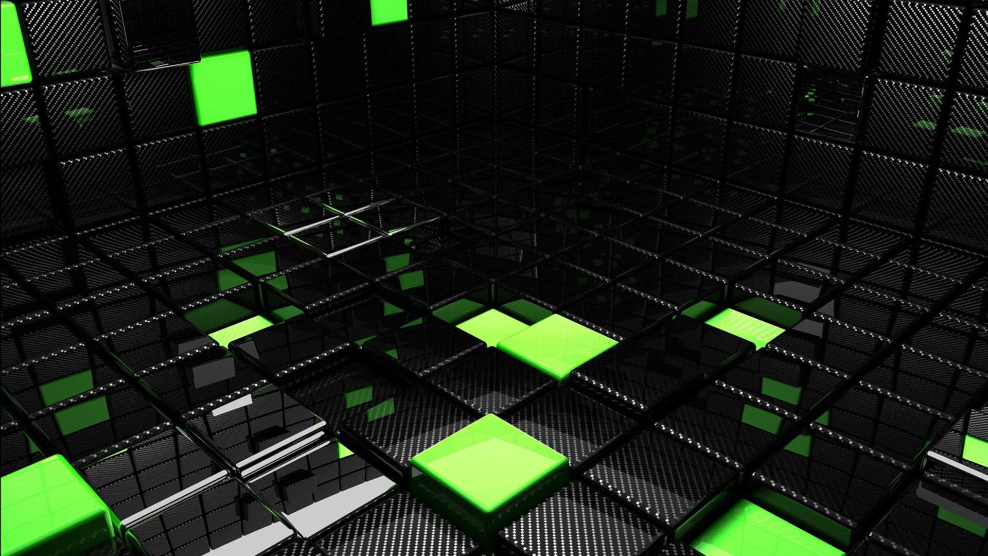 Black & Green Cubes Wallpaper