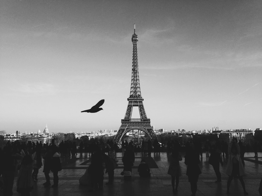 Black & White Eiffel Tower Wallpaper