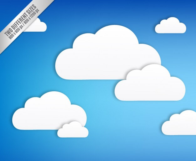 Blue Background With White Clouds Free Vector