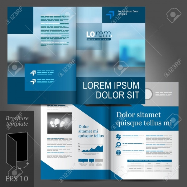 Blue Business Vector Construction Brochure Template