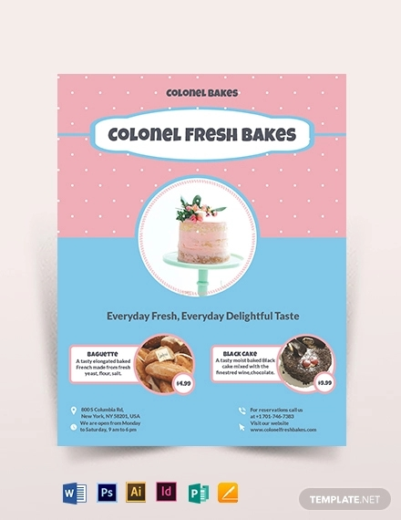 cake bakery flyer template