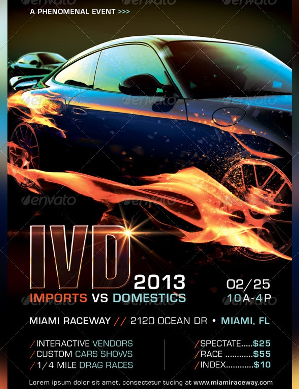 Car Racing Flyer Design