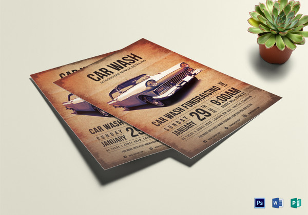 Car Wash Fundraising Flyer Template to Print