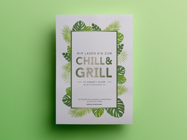 chill grill party postcard invitation