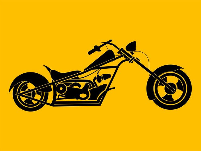 Chopper Motorcycle Vector Graphics Illustration