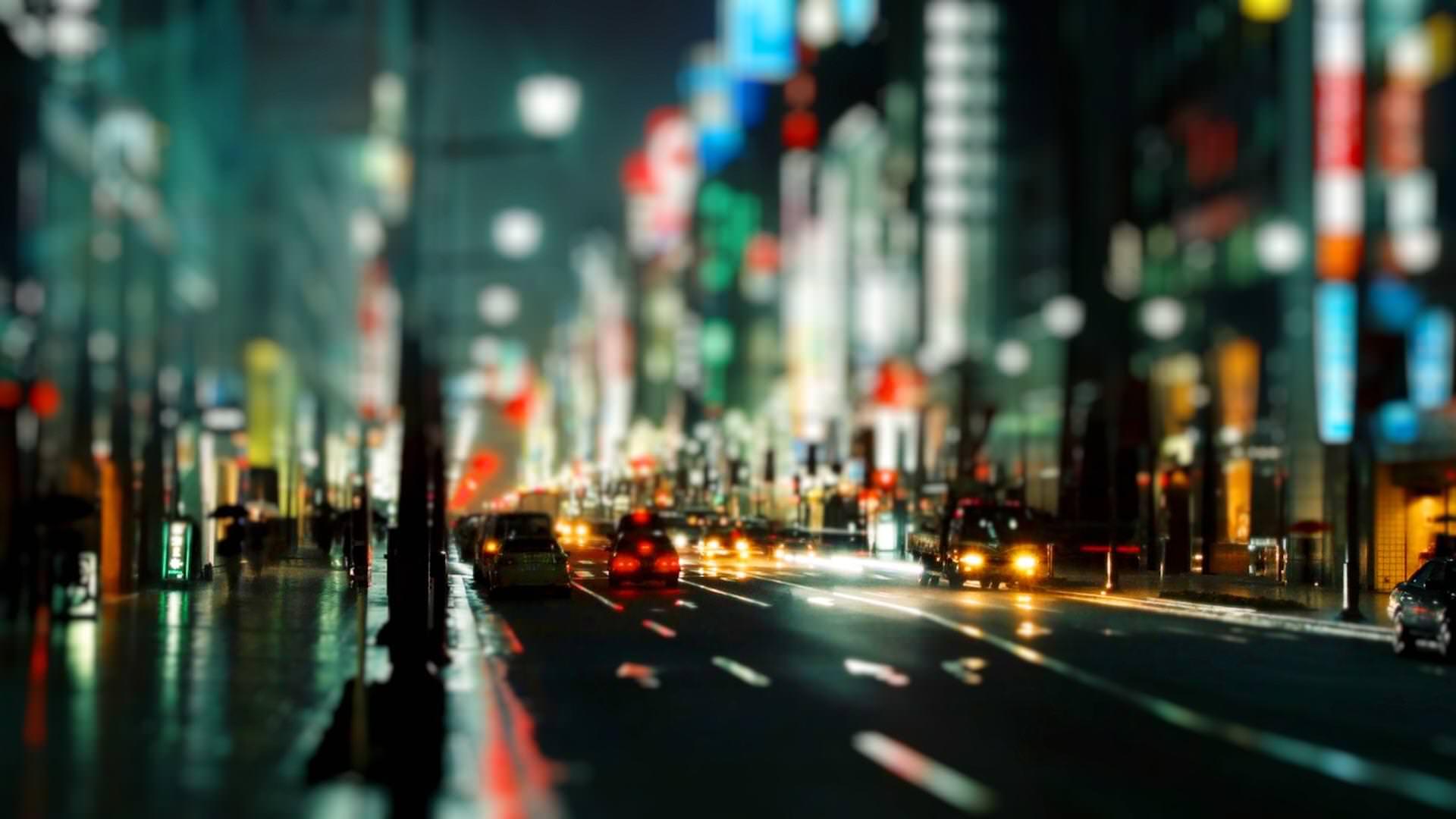 City Hazy Blurred Night Lights Wallpaper