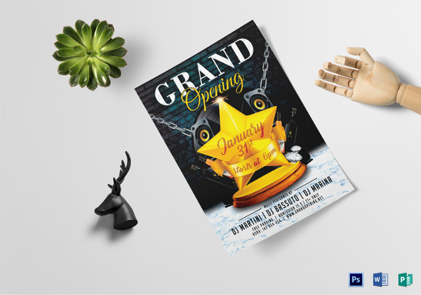 classy grand opening flyer template