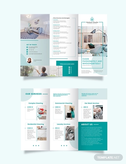 cleaning service company tri fold brochure template