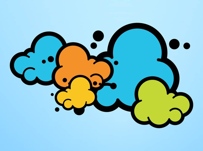 Colorful Cartoon Clouds Free Vector