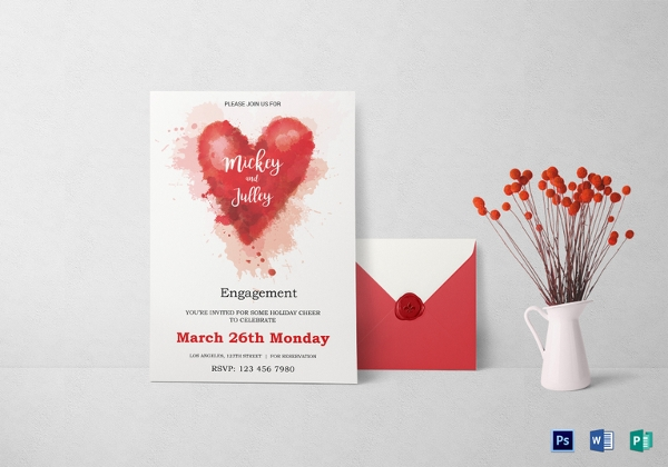 Colorful Engagement Invitation Card Template