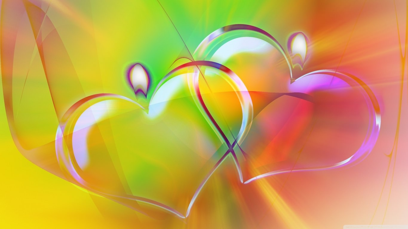Colorful Heart Candles Wallpaper