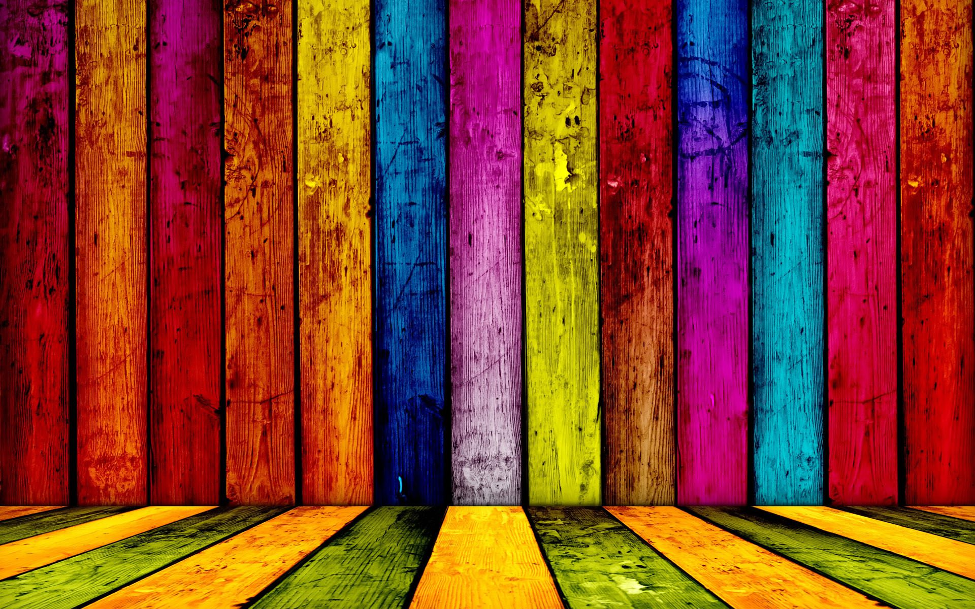 Colorful Wooden Planks Wallpaper