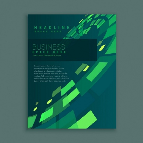 Company Business Brochure with Green Squares