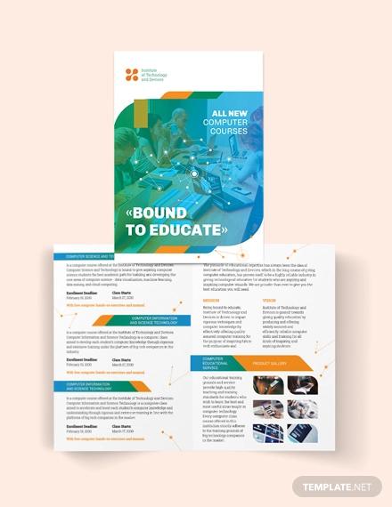 computer course bi fold brochure template