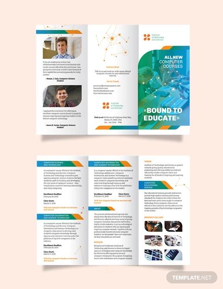 computer course tri fold brochure template