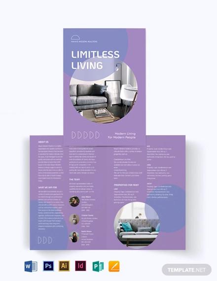 condo apartment vacation rental bi fold brochure template
