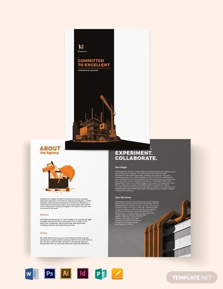 construction company profile bi fold brochure template