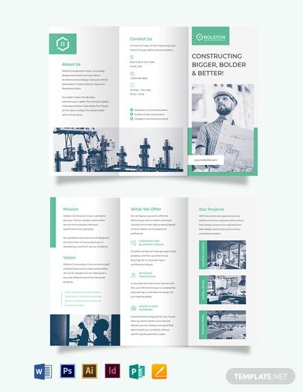 construction firm tri fold brochure template