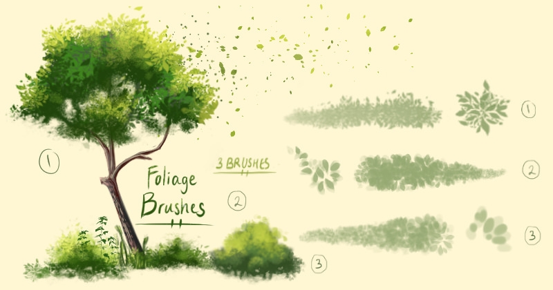 cool foliage brushes