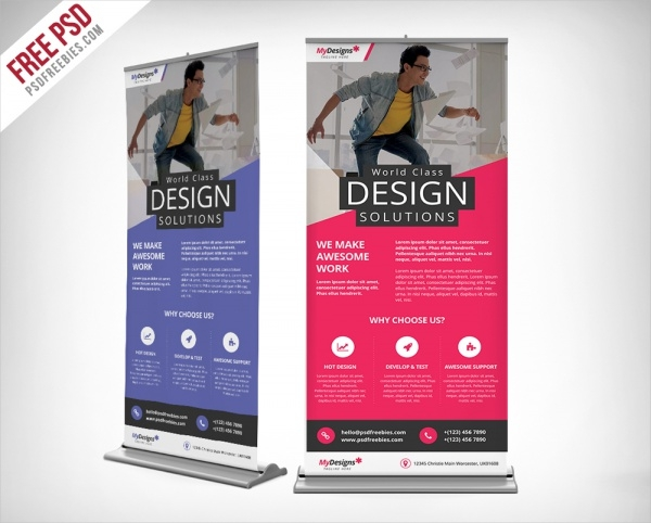 corporate outdoor roll up banner free psd