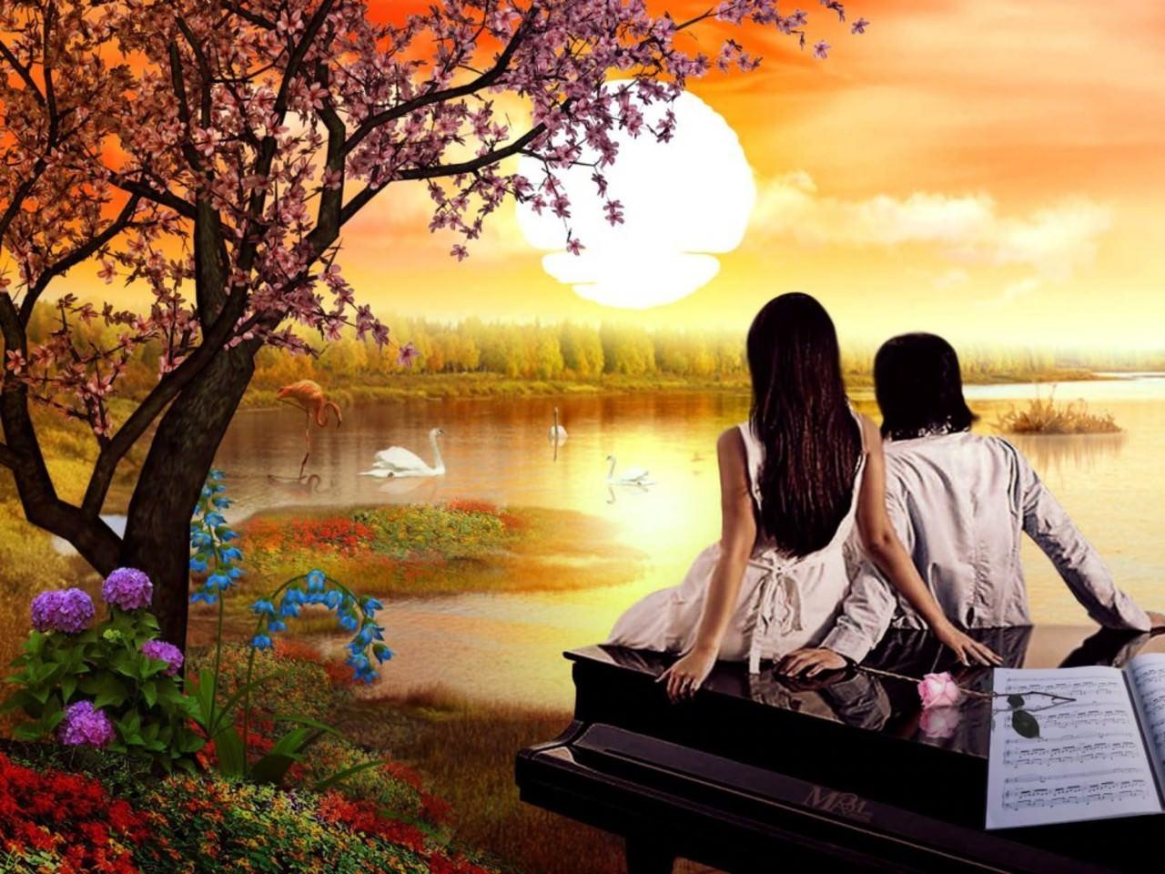 Couple at lake Artistic Wallpaper