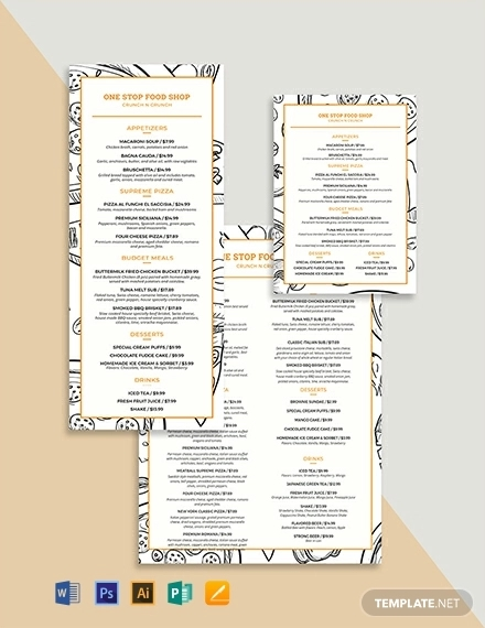 creative modern food and drinks menu template