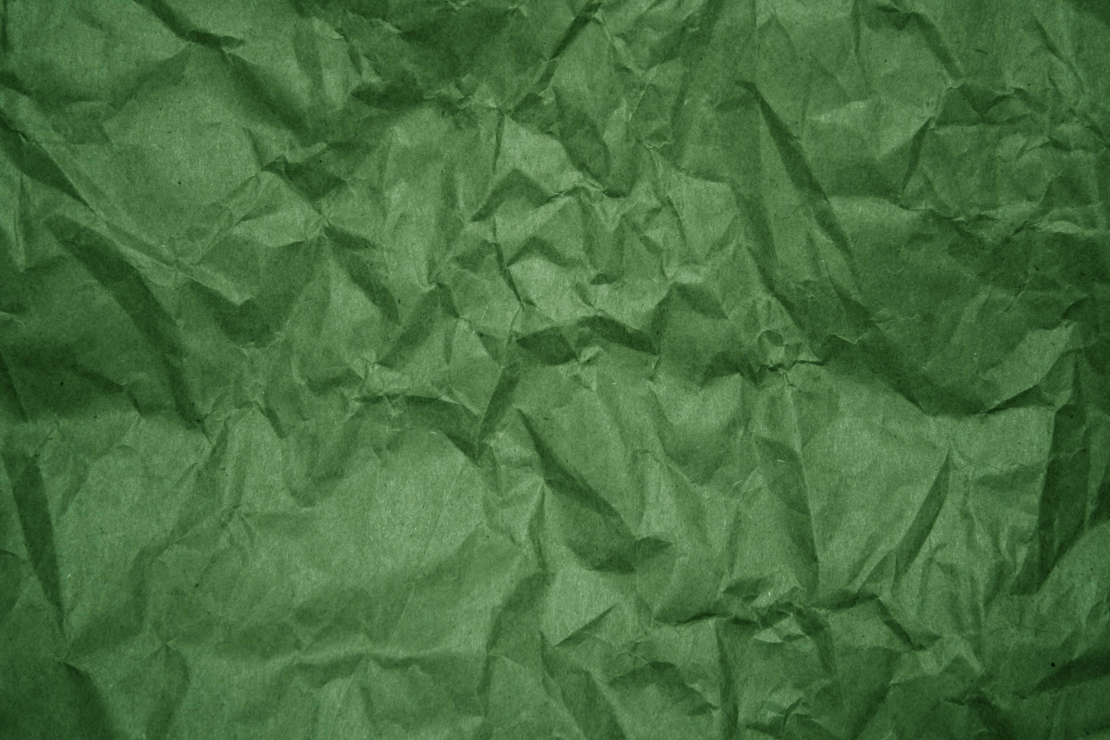 Crumpled Green Paper Texture