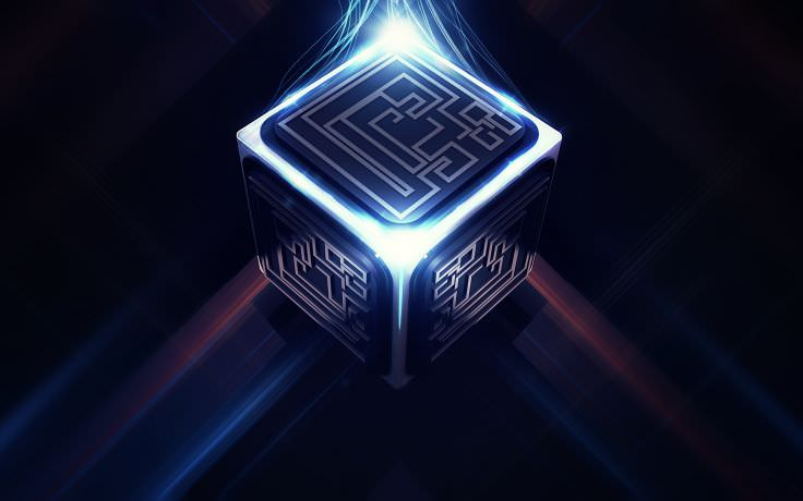 Cube Pattern with Tech Circuit Wallpaper