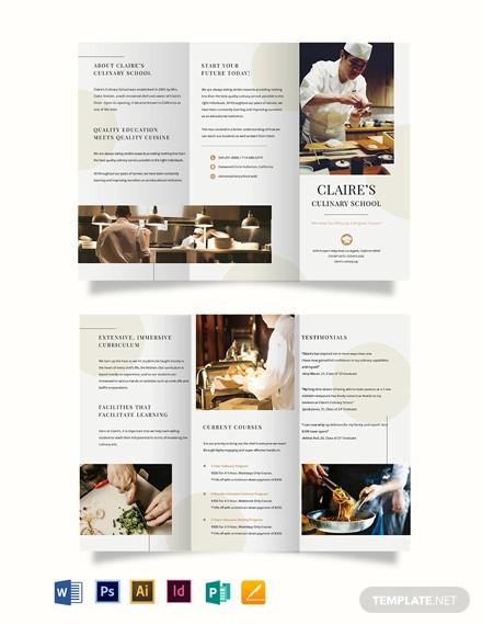 culinary school tri fold brochure template