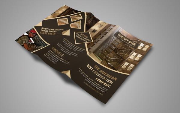 Customizable Construction Tri-Fold Brochure Design
